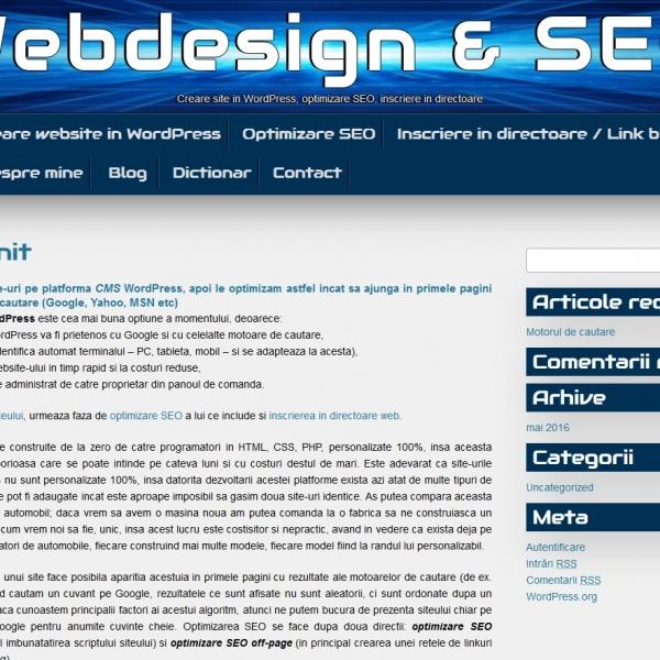 Creare site wordpress optimizare SEO pret articole seo
